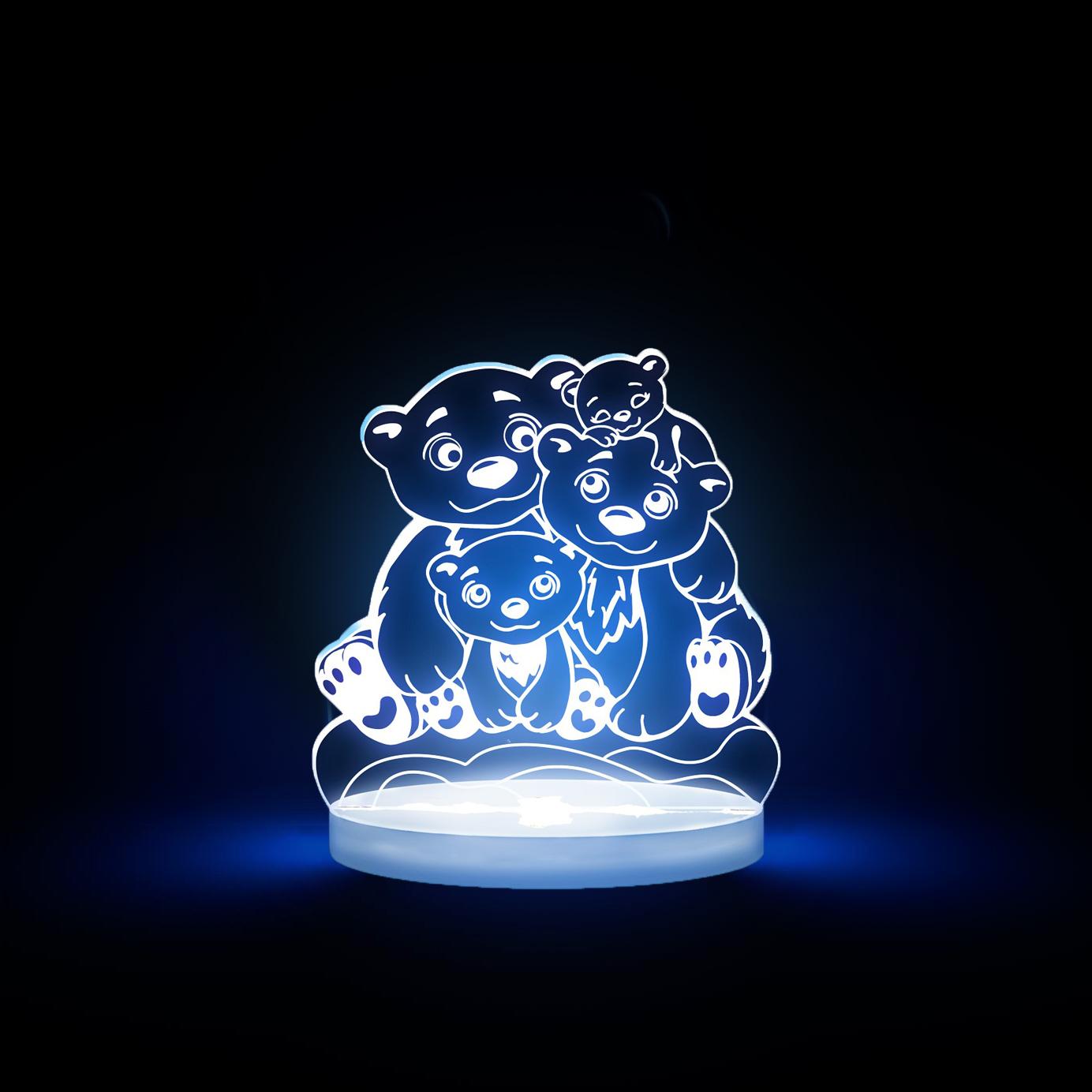 Bears Multicolored LED Night Light